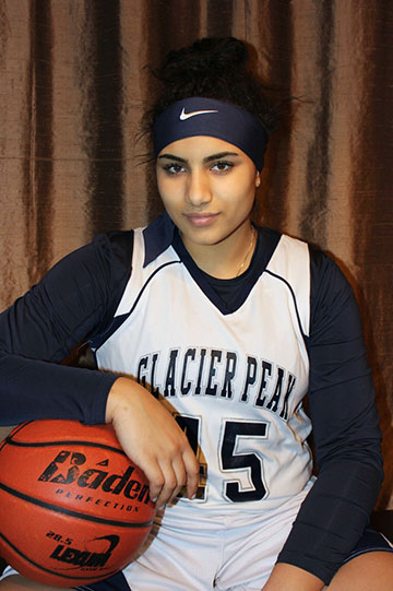 Tiara in her basketball uniform.