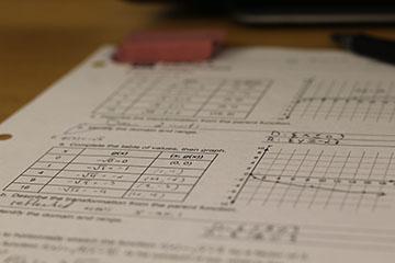 A student's math homework.