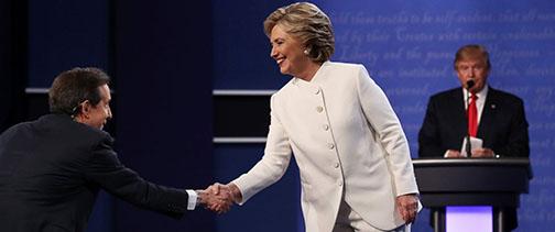 Hillary Clinton and Donald Trump at the debate. Credit: Associated Press