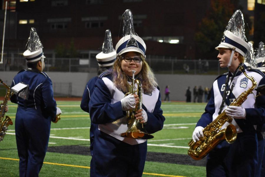 Claire Calabrese preparing for the halftime show at the homecoming game.