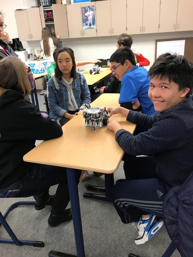 Students enjoy working on robotics.
