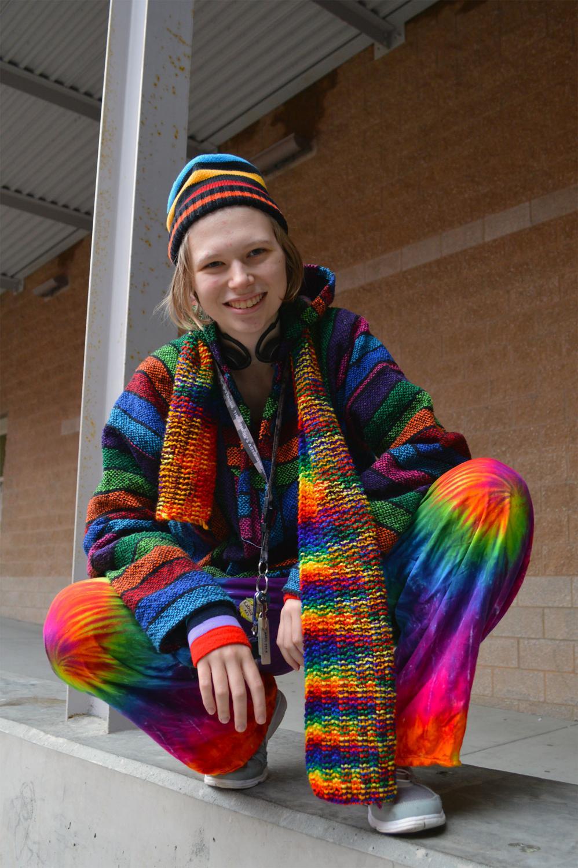 Kat in her tie-dye gear.
