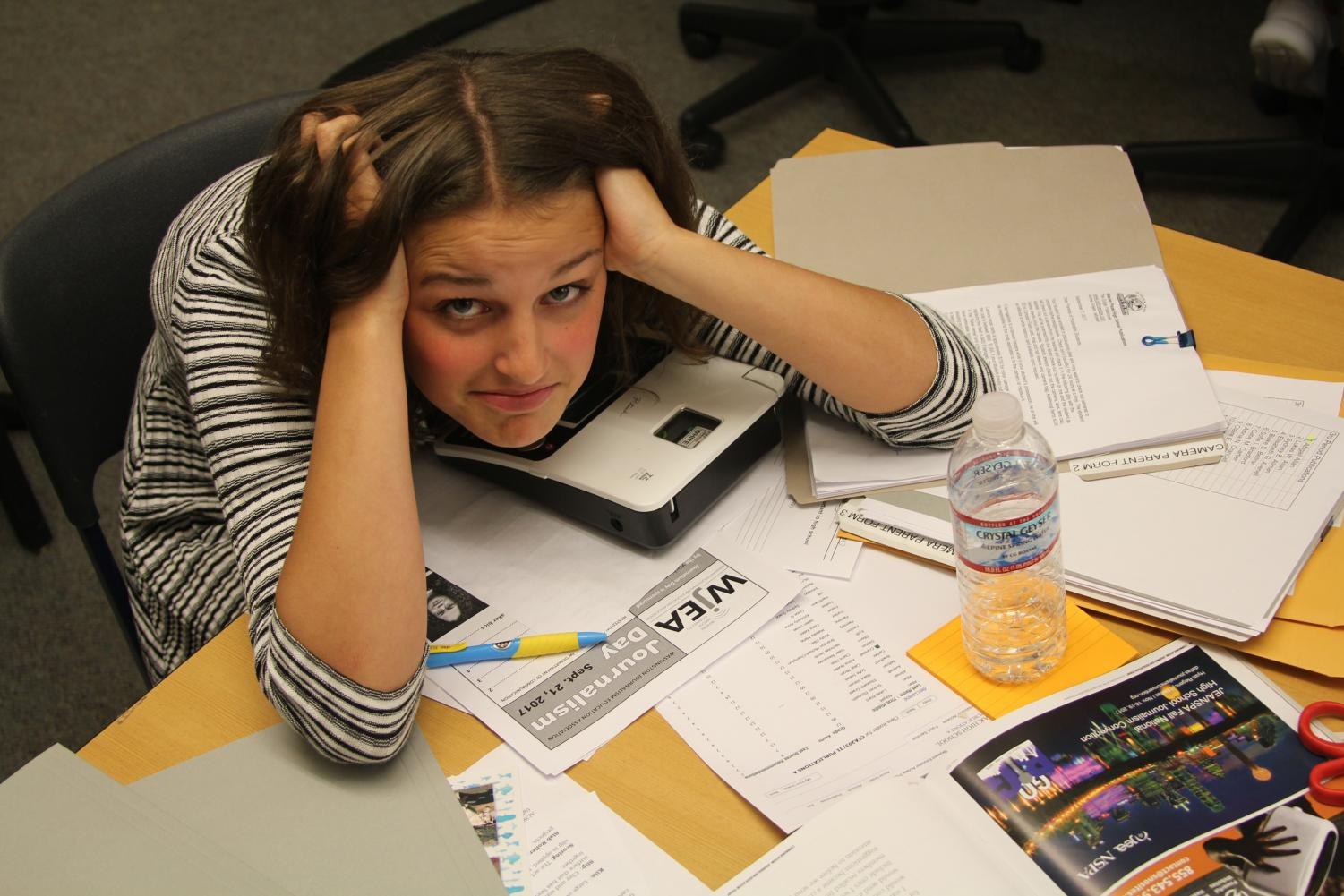 Freshman Lauren Peltier, overwhelmed with work