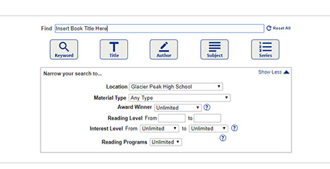 You can use the online catalog to search for books that are in the school's library.