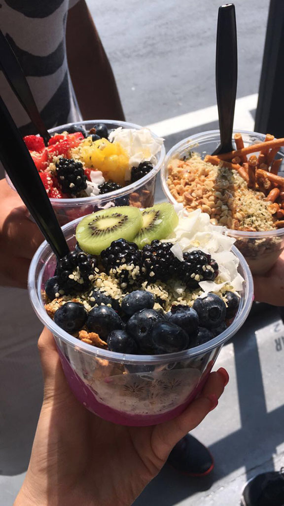 A picture of some of the Acai Bowls available at HB Beverage Company.