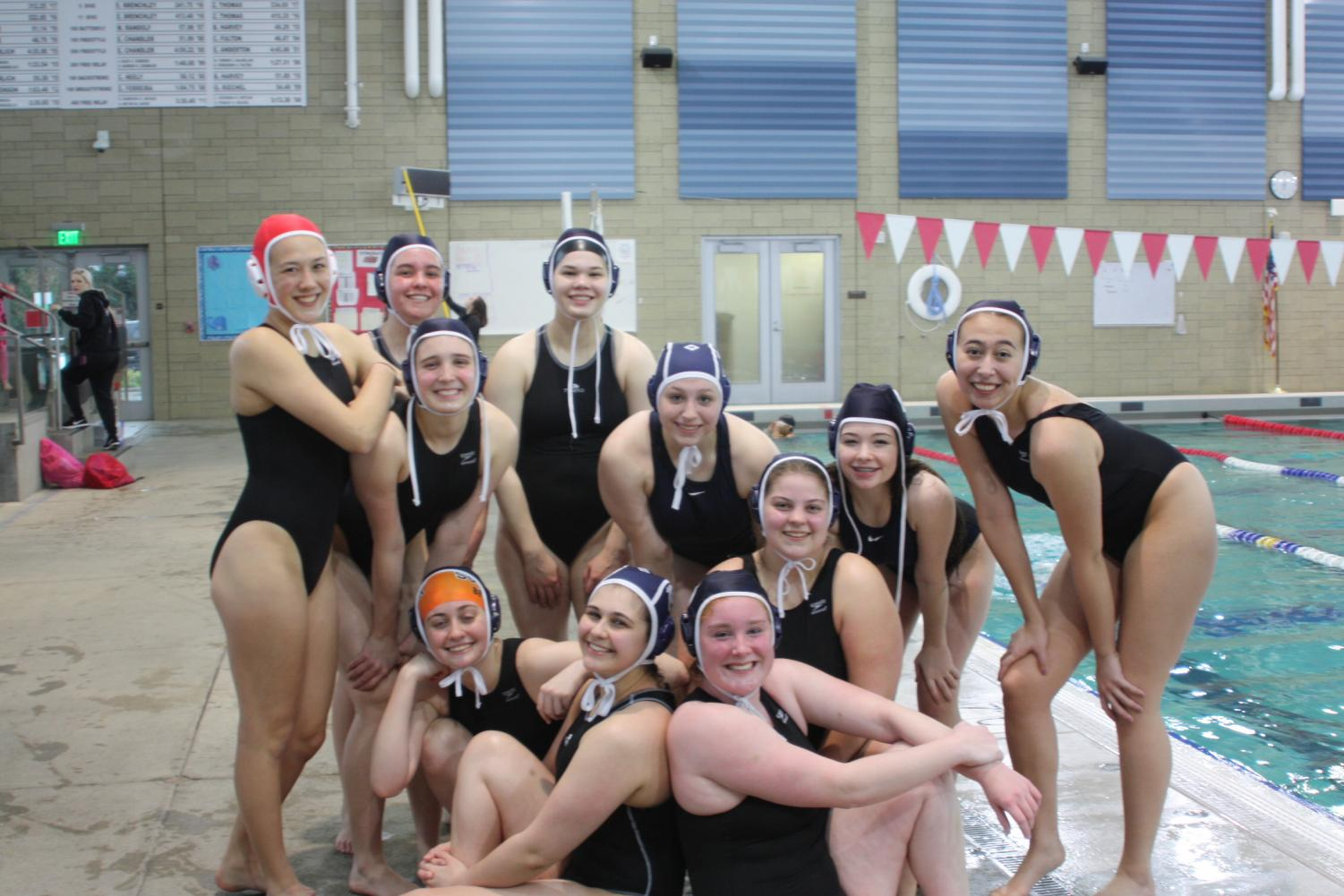 The girls water polo team after their first game.