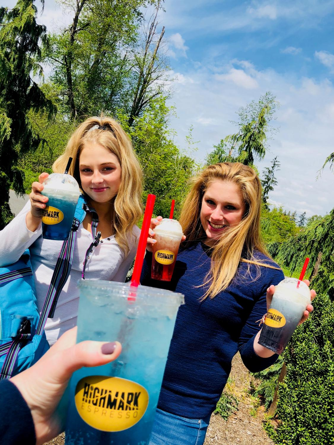 Kelsie Thuringer and Lauryne Herzog holding there Italian Sodas.