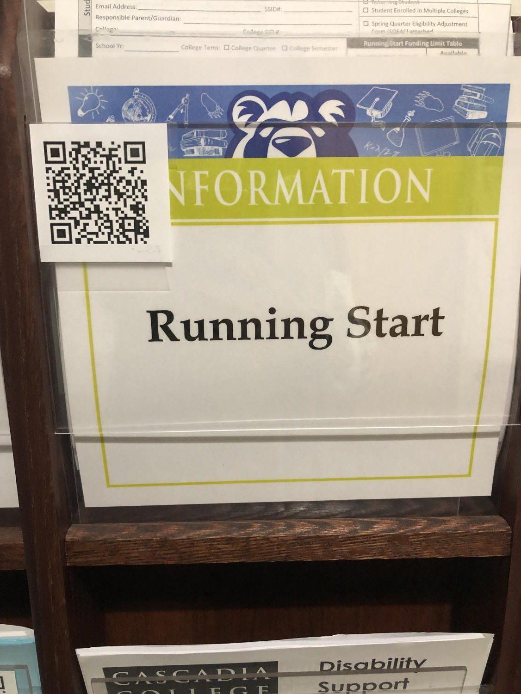 Running Start information along with a QR code.