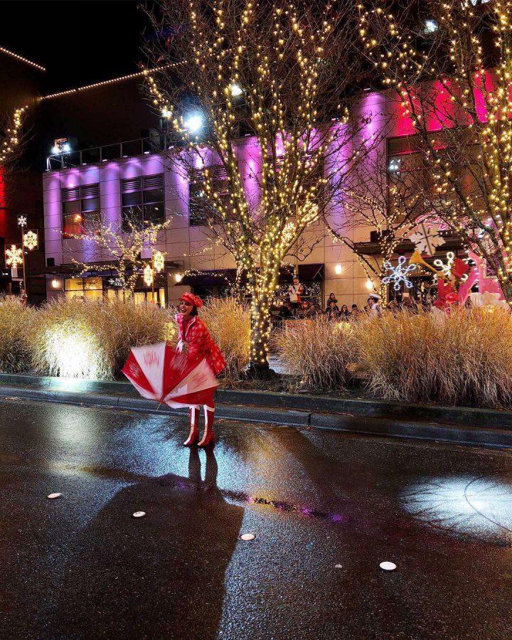 Sophomore, Lauren Peltier performing in snowflake lane.