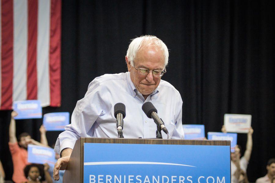 Senator Bernie Sanders speaks at a rally. Credit: Nick Solari