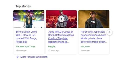 News stories about Juice Wrld's death.