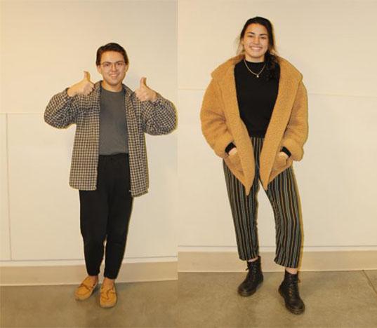 Kai Johnson and Calen Connor in their winter wear
