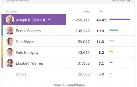 A screenshot of the South Carolina primary results. credit: The New York Times