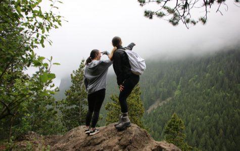 Students Jessica Delker and Amanda Riedlinger hiking on Mt. Si